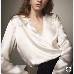 Massimo Dutti cream top with collar, 100% silk